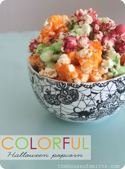 colorful jello-o popcorn from the new Our Best Bites New Cookbook!   Here's what you'll need:  8 cups of popped popcorn  1/4 cup butter  3tablespoons light corn syrup (honey is a good substitute)  1/2 cup sugar  1 (3-ounce) box of Jell-O flavor. (NOT the sugar free kind)
