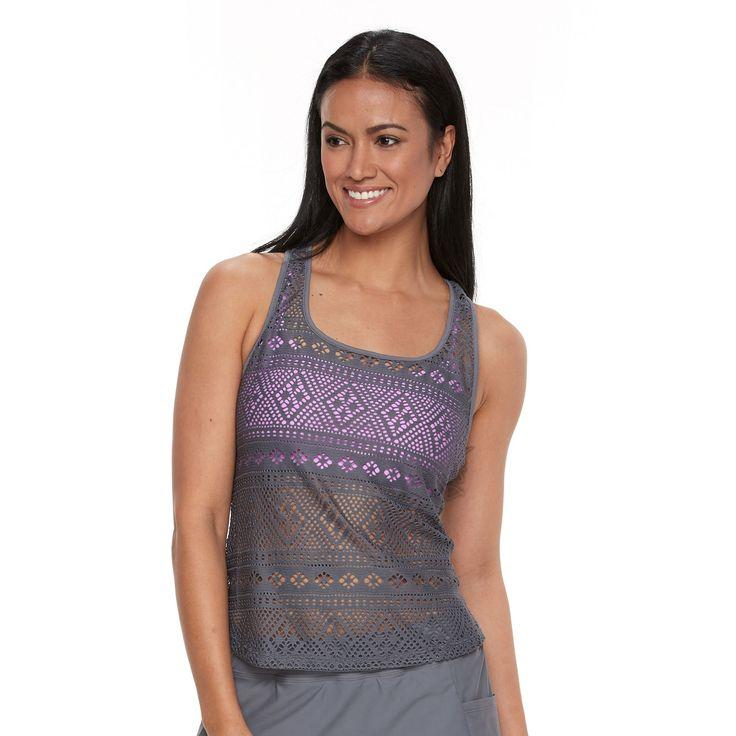Women's Splashletics 2-1-in Crochet Tankini Top, Size: Medium, Light Grey