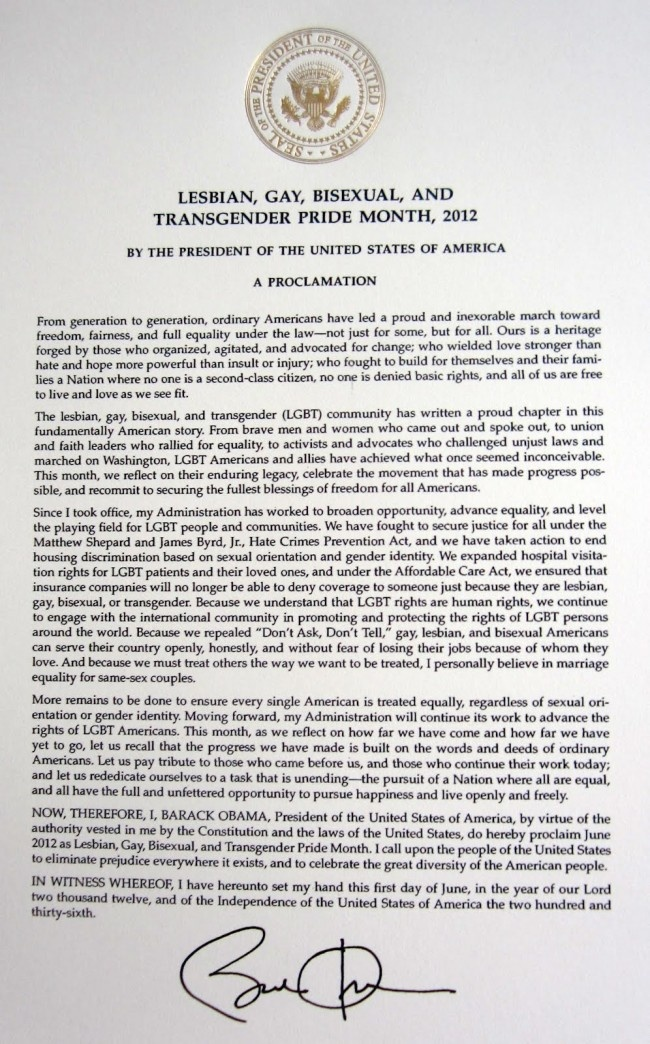 June proclaimed gay lesbian month