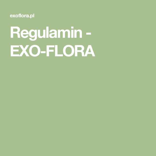 Regulamin - EXO-FLORA