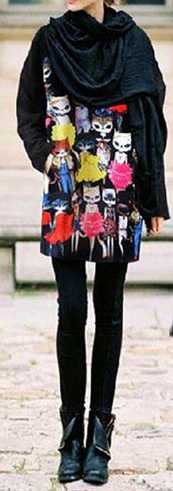 Women loose fit knit wear cat girl walk model cartoon dress funky cute fashion #unbranded