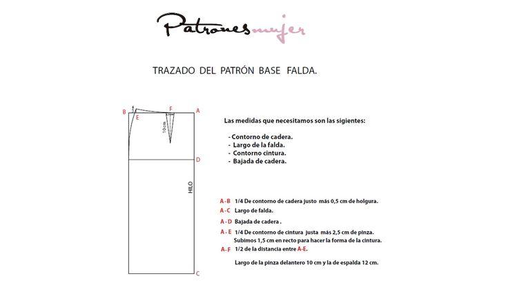 Trazado del patrón base de falda. Como hacer patrones.