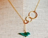 The Bubbles and Turquoise Bird Lariat by verabel on Etsy #verabeljewelry #verabel