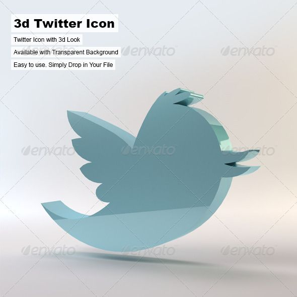 A 3d Twitter icon, rendered in 3ds Max. This works great with website designs or it can be used as an icon for business cards, pri