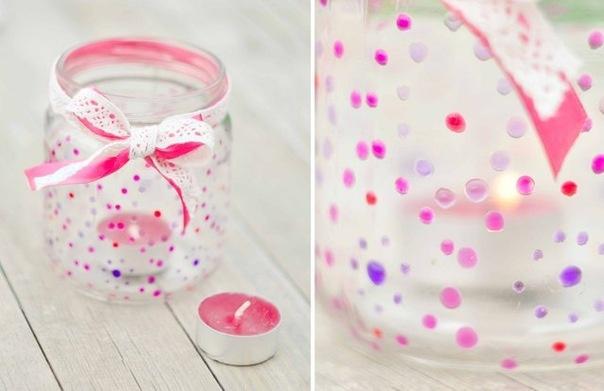 portavelas de frascos de vidrio reciclados