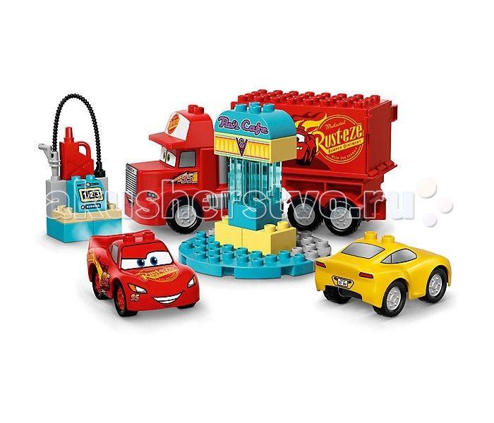 """Конструктор Lego Дупло Кафе Фло 28 элементов  Конструктор Lego Дупло Кафе Фло 28 элементов 10846  предлагает ребенку собрать заправку для персонажей анимационного фильма """"Тачки 3"""". Молния МакКуин, Крус Рамирес и Мака смогут заехать на эту бензоколонку и заправиться, чтобы набраться сил для разных занимательных игр. С таким набором ребенок сможет воспроизвести понравившуюся сценку из этого мультфильма, или же придумать для героев новые приключения.   При изготовлении элементов набора…"""