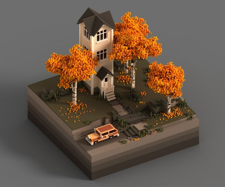 """A house in autumn, designed and rendered with #MagicaVoxel (color adjustments in PS)"""