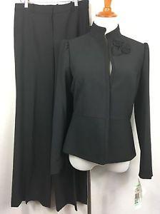 Albert Nipon Black Pant Suit Rosette Chic Wool Blend Womens Size 8 New A31 | eBay