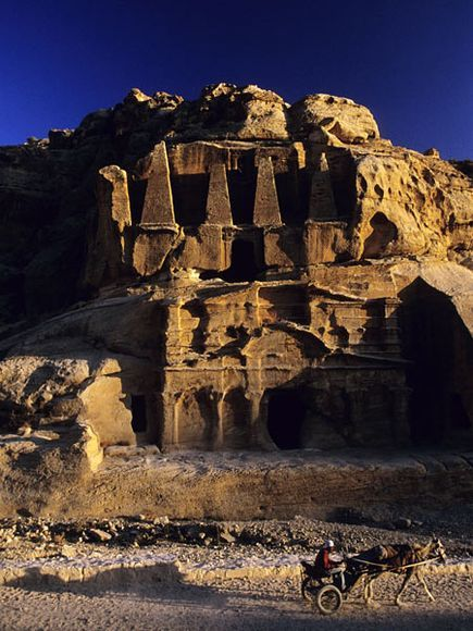 The Obelisk Tomb tops the Bab al-Siq Triclinium, one of many ancient buildings at Petra.