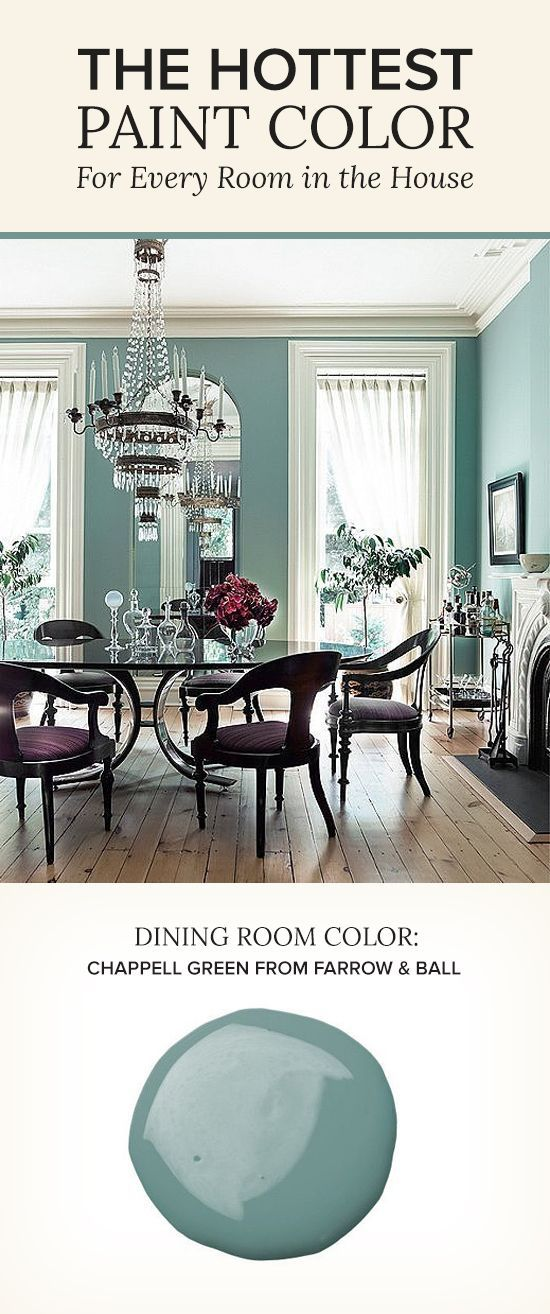 Formal dining rooms take a turn with this whimsical alternative to the old faithful of dining room colors, navy. Dark accents, frames, touches of iron and jewel-toned upholstery ground the playful shade, dialing up the drama. Dining room painted in Farrow & Ball's Chappell Green