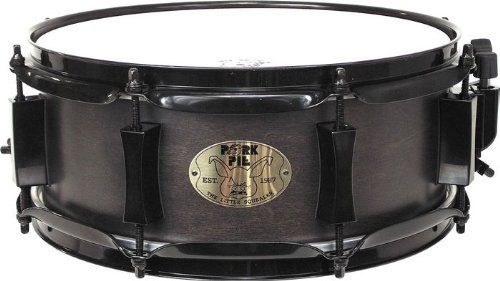 Pork Pie Snare Drum 5x12 Little Squealer Black with Black Hardware by Pork Pie. $179.99. The Pork Pie Little Squealer Maple Snare Drum is made with an 8-ply all maple shell finished in ebony satin with black chrome hardware for cool looks. Heavy-duty hoops are of 2.3mm triple-flanged steel. Comes with Pork Pie high-quality snare wire. Remo heads top off this punchy little drum.