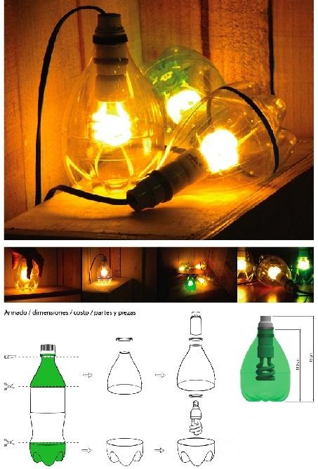 lamparas con botellas de plástico : cosascositasycosotasconmesh