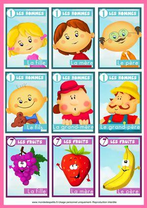 Jeu de cartes 7 familles à imprimer