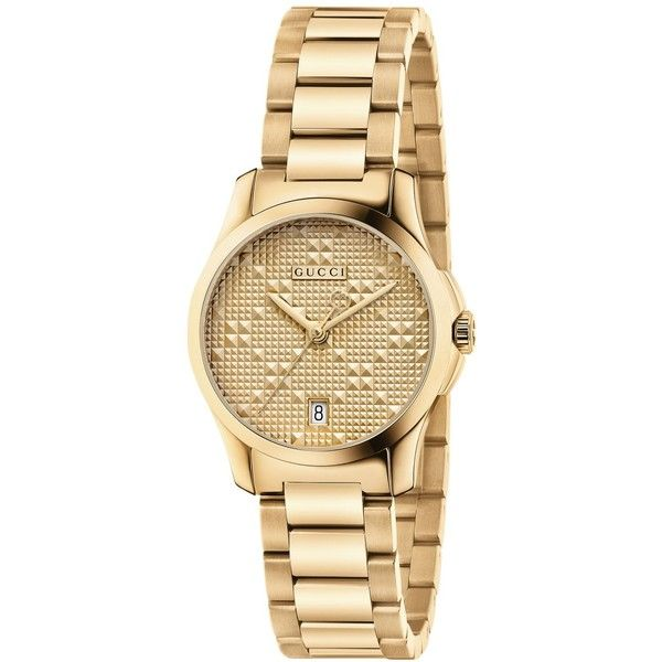 Gucci Women's Swiss G-Timeless Gold-Tone Pvd Stainless Steel Bracelet... (£670) ❤ liked on Polyvore featuring jewelry, watches, no color, watch bracelet, stainless steel watch bracelet, gold tone watches, gucci jewelry and gucci
