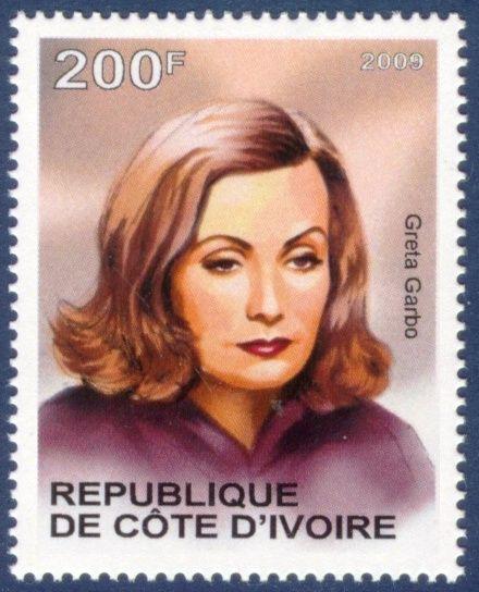 Republique de Cote D'Ivoire Stamp 2009 - Greta Garbo Swedish Actress