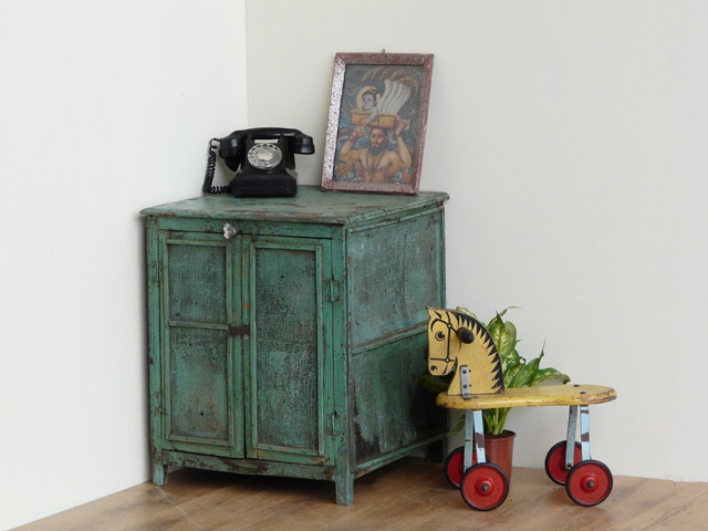 Authentic Vintage Turquoise Kitchen Cabinet With Wire Mesh And A Single Mid  Level Shelf.