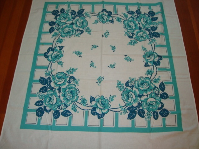 Vintage Tablecloth BLUE GREEN ROSES 1950s