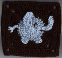 Crochet Elephant Granny Square
