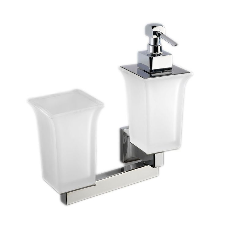 Gorgeous High End Luxurious Modern Wall Mounted Soap Dispenser With Toothbrush Holder In Frosted Glass Bathroom Accessories