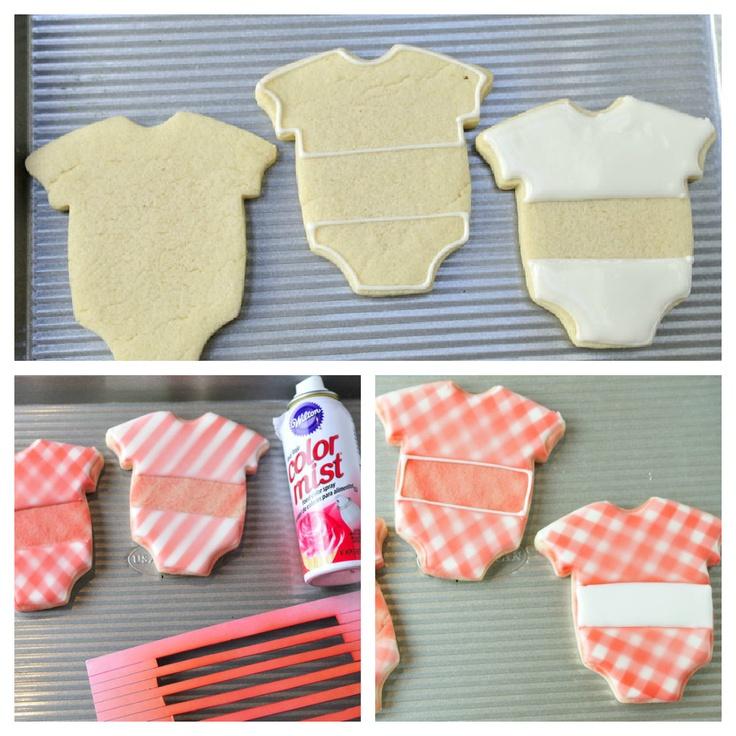 Haniela's: Gingham Baby Onesie Cookies