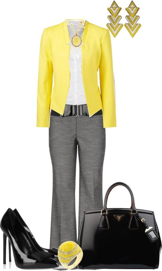 Pop of yellow always looks classy with cool grey for this Work outfit. Shoes are too much though ...