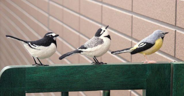 Needle-felted birds