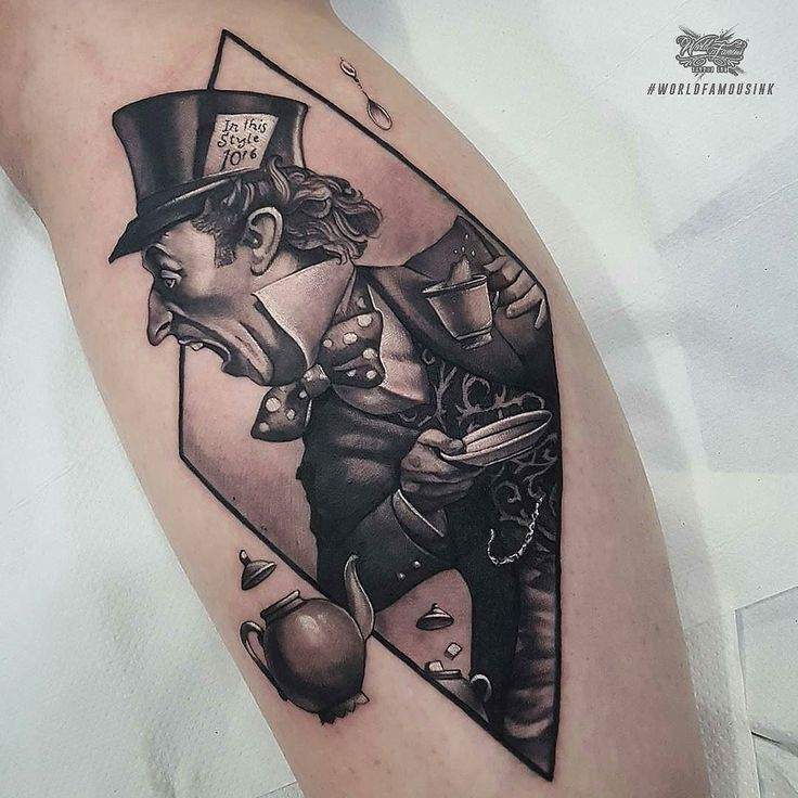 We're All Mad Here by @littlenicktattoo at @thechurchtattoo in Redditch United Kingdom. #madhatter #aliceinwonderland #thechurchtattoo #birmingham #redditch #uk #unitedkingdom #tattoo #tattoos #tattoosnob
