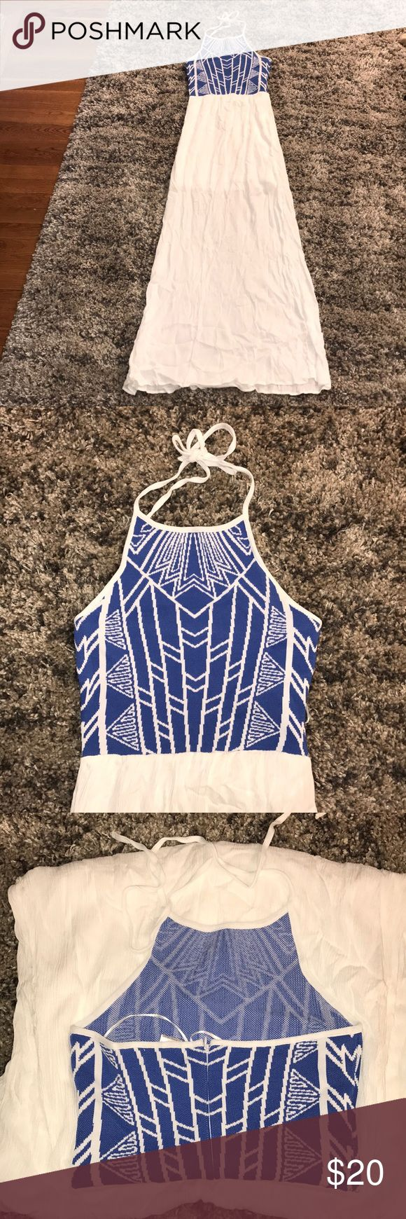 NWT blue and white Aztec maxi dress - size small Blue and white Aztec maxi dress - size small. NWT - never worn. jealous tomato Dresses Maxi