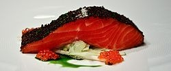 Australian cuisine -confit of Tasmanian Ocean Trout. I LOVE Sea food. I can't wait to try this one day.
