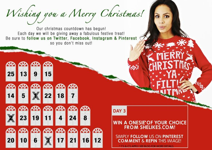DAY 3 of our #Xmas Advent Calender #comp!! Today one lucky winner can win a Onesie on Pinterest!  Just LIKE this page, REPIN & COMMENT on this image!   T's & C's apply. See shelikes blog more for details.
