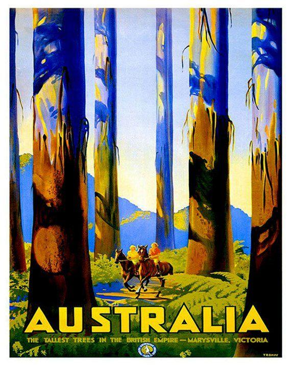 Australia Travel Poster Home Decor Australian Wall Art Print Etsy Vintage Travel Posters Posters Australia Retro Travel Poster