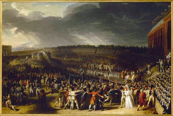 """Le bonheur améliore la qualité de la Démocratie- Flavin 2010 Charles Thevenin (1764-1838). """"La Fête de la Fédération, le 14 juillet 1790, au Champ-de-Mars"""" (1795). Paris, musée Carnavalet."""