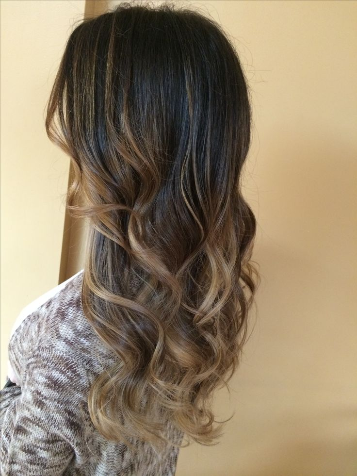 Dark Brown Fading Into A Beige Blonde Balayage Glaze Long Layered Haircut Blowdry Curl
