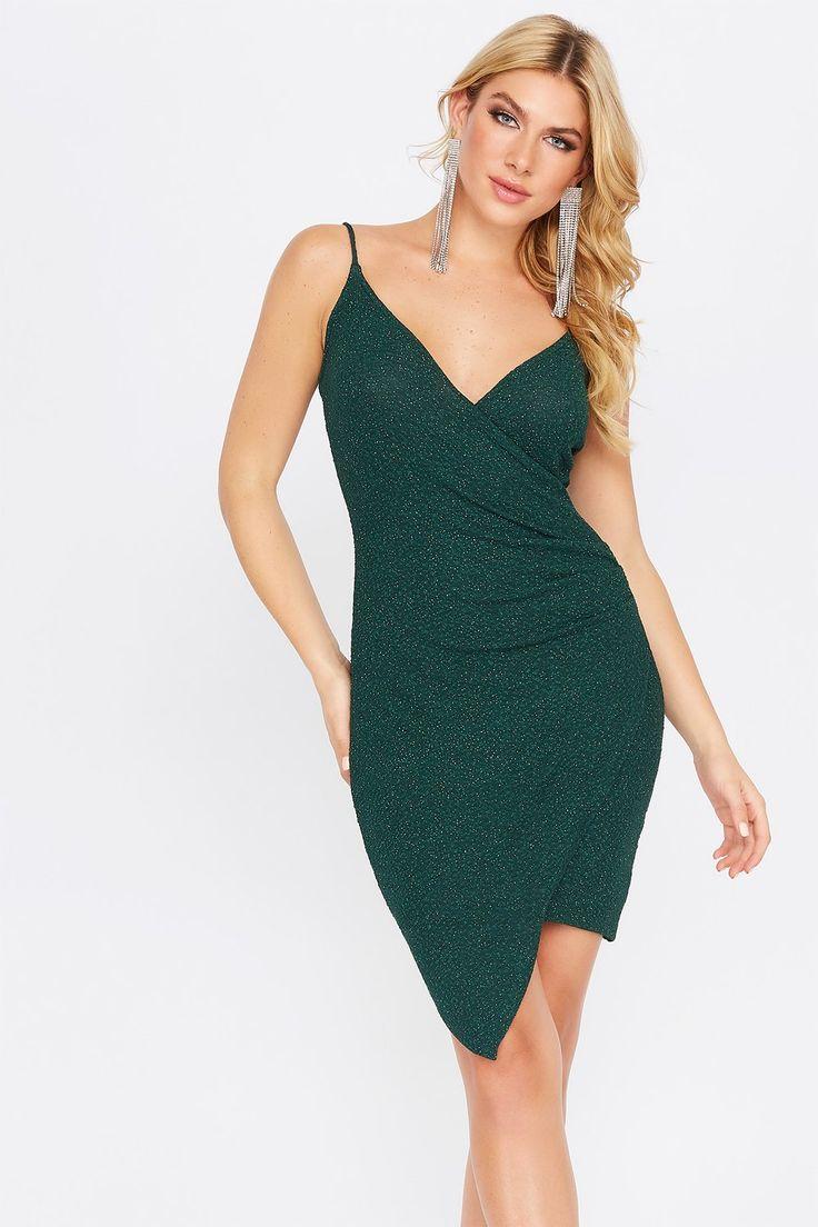 Glitter Asymmetrical Wrap Dress Charlotte Russe Dresses Wrap Dress Asymmetrical [ 1104 x 736 Pixel ]