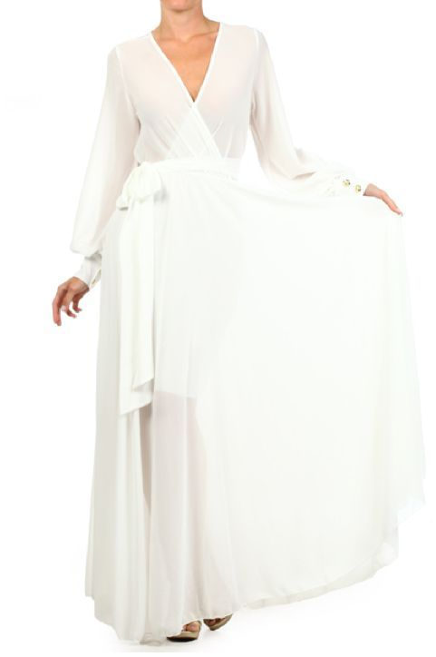 Details about WHITE or OFF WHITE FULL SWEEP Chiffon Wrap MAXI ...
