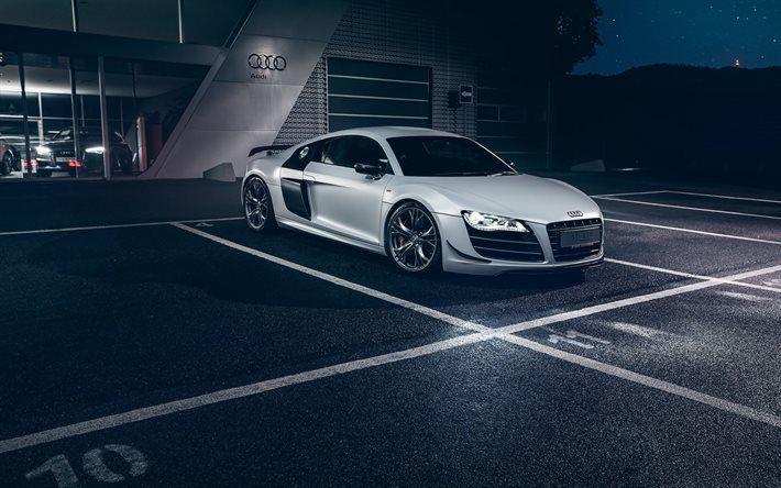 Télécharger fonds d'écran Audi R8 GT, V10, 2016, Tuning audi R8, blanc R8, voiture de sport, Audi