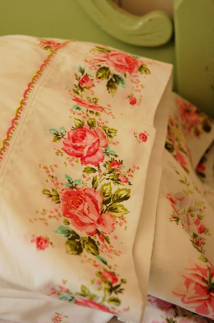 Sew pretty floral printed panels into romantic pillow cases.