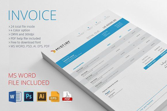Invoice With MS Word by Rongmistiry on @creativemarket Powerful - invoice word