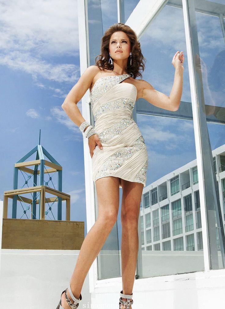 Chic Sheath One-Shoulder Beaded Mini Cocktail Dress