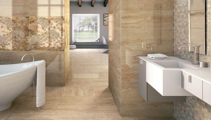 Un elegante y sofisticado dise o para el cuarto de ba o - Combinaciones de colores de ceramicas para banos ...