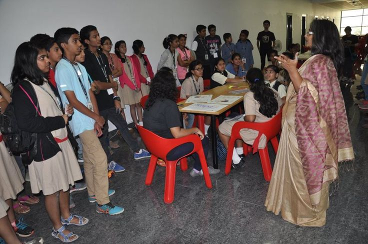 Students assemble for the DSK Design Olympiad Round 2 — at DSK International Campus.