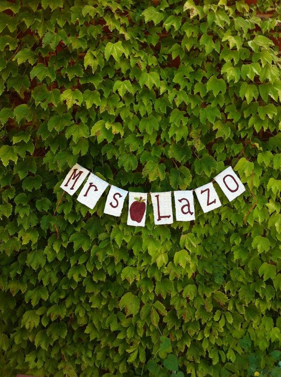 Custom Teacher Name Banner Garland by GiftsbyGaby on Etsy, $10.00