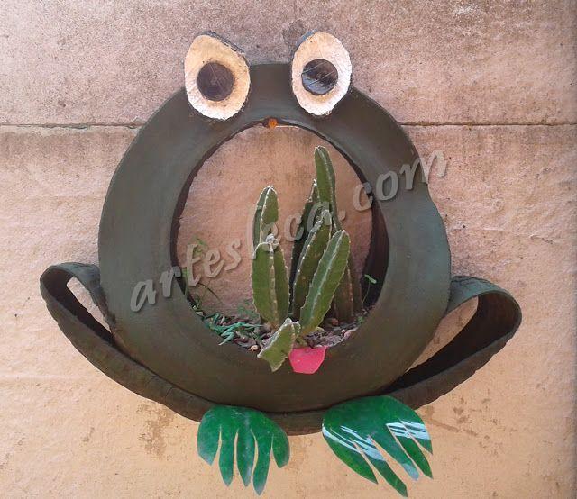 Artesanato de pneus: Sapo floreira feito com pneu de carrinho de mão (COM PASSO-A-PASSO! no link) #artesanato #criatividade #pneus #reciclagem #decoração #jardim #floreira #sapos