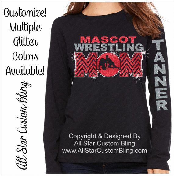 Wrestling Mom Chevron Glitter and Bling Rhinestone Shirt, Wrestling Mom Shirts, Bling Wrestling Mom Shirts