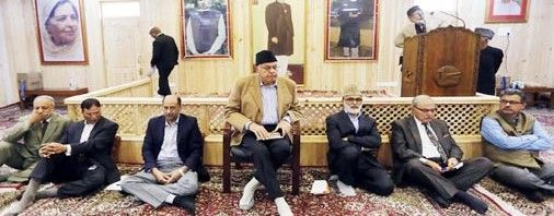 NC president Dr Farooq Abdullah addressing a conclave of NC Legal Cell at party headquarters in Srinagar on Saturday.