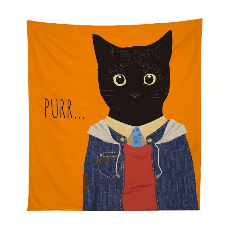 Tapestry gato casual purr... Xpodisain shop: Este tapestry esta hecho de tela sublimada con tintas ecológicas. Es el accesorio ideal para tu habitación. Utilízalo para adornar tu pared, incluso para llevarlo a la playa o como manta de picnic. 100% poliéster.Color, multicolor.Tamaño, 130 x 150 cm.Hecho en Viña del Mar, Chile.