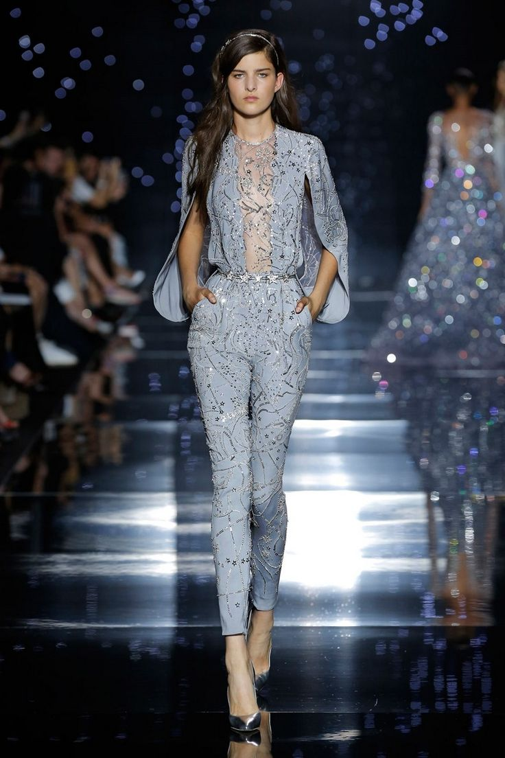 Zuhair Murad 2016 Haute Couture Collection - Fitted jumpsuit with grey silk crepe cape sleeves and constellation map ornamentation