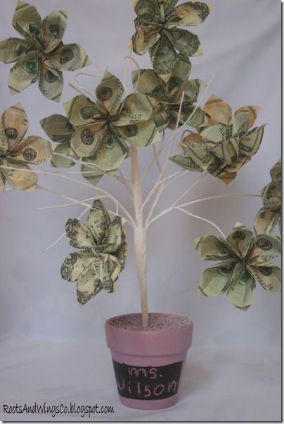 Money Tree - this one looks a bit time consuming.  I have taken a ficus tree and clipped money all over it collected from the class - fast and easy!