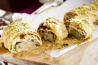 Feijoa, honey and pistachio strudel