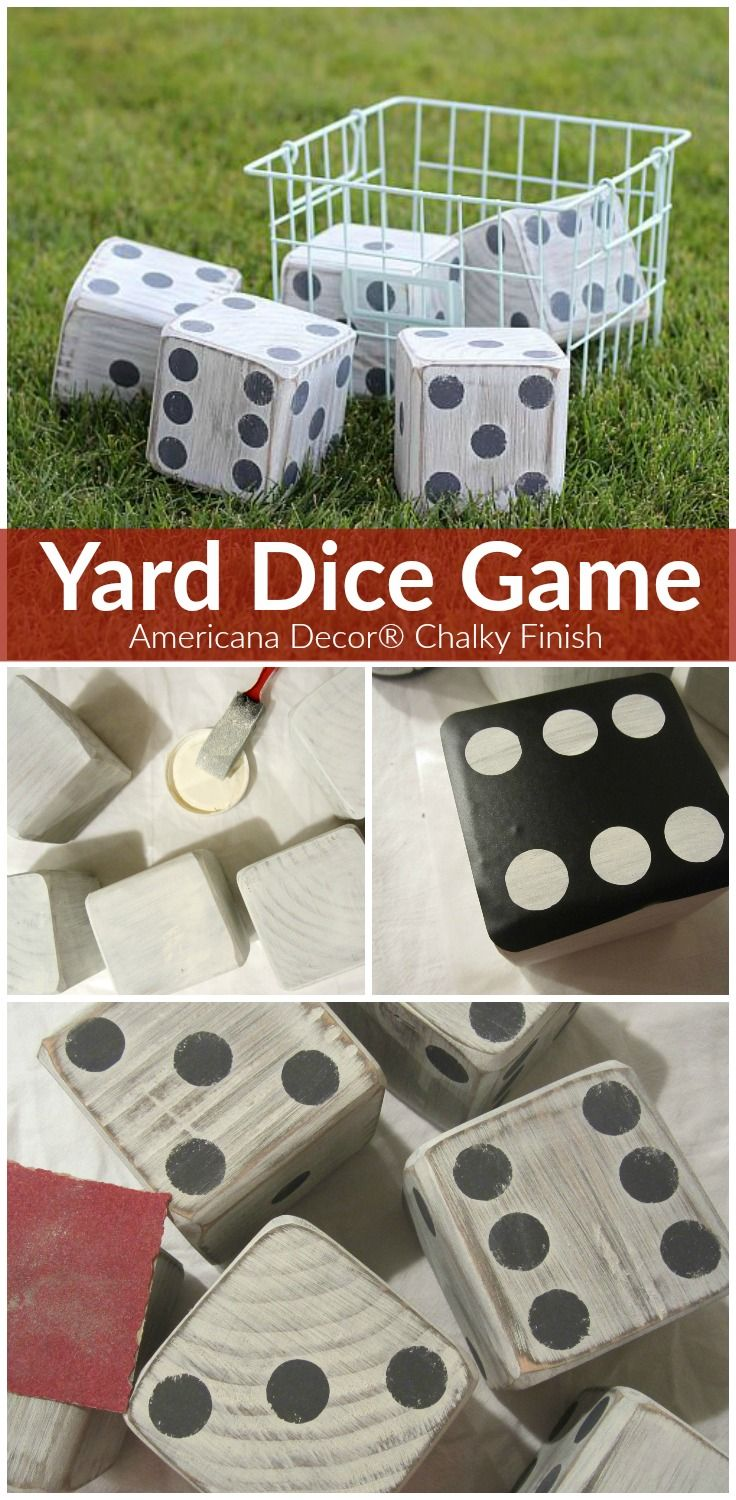 Take this game of chance outdoors with Americana Decor® Chalky Finish paint. @DecoArt #decoartprojects #dice #yahtzee #outdoorgames #decoartprojects